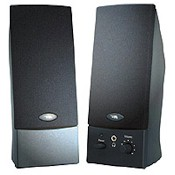 Speaker Desktop 2-piece Stereo System USB Bus Pwd Black With Headphone Output